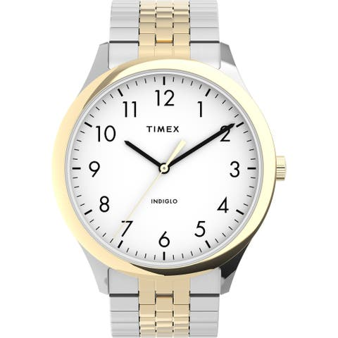 Timex Men's Modern Easy Reader 40mm Watch - Two-Tone Case White Dial with Expansion Band - One Size