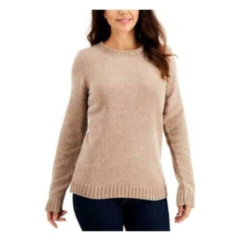 KAREN SCOTT Womens Beige Long Sleeve Crew Neck Sweater Size XXL