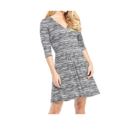 London Times Womens Dress Gray Size 14 Sweater V-Neck Pleated Striped