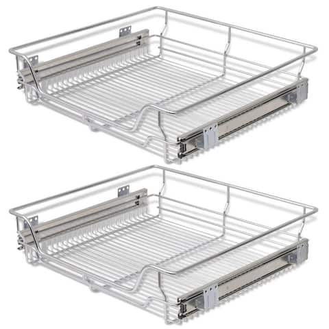 vidaXL Pull-Out Wire Baskets 2 pcs Silver 23.6""