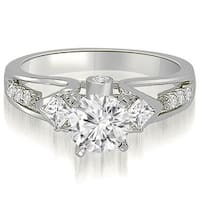 1.40 cttw. 14K White Gold Vintage Round And Princess Diamond Engagement Ring