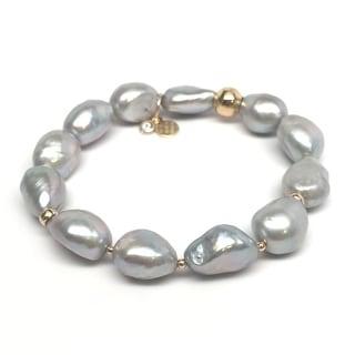 """Grey Baroque Pearl Sophia 7"""" Bracelet"""