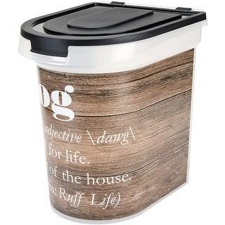 "Plastic Rolling Pet Food Bin 15.5""X13.25""X16.75""-Wood Grain"
