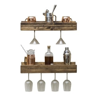 Link to Handmade Del Hutson Designs Rustic Luxe Shallow Stemware Racks, Set of 2 Similar Items in Kitchen Storage