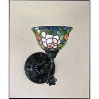 "Meyda Tiffany 27232 Tiffany Rosebush 14"" Wide 1-Light Wall Sconce with Stained Glass Shade - tiffany glass"