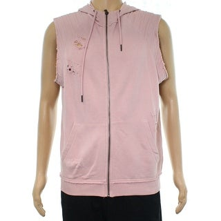INC Pink Mens Size Medium M Desconstructed Hooded Vest Sweater