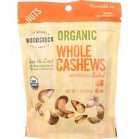 Woodstock Organic Cashews - Roasted - Salted - Case of 8 - 7 oz.
