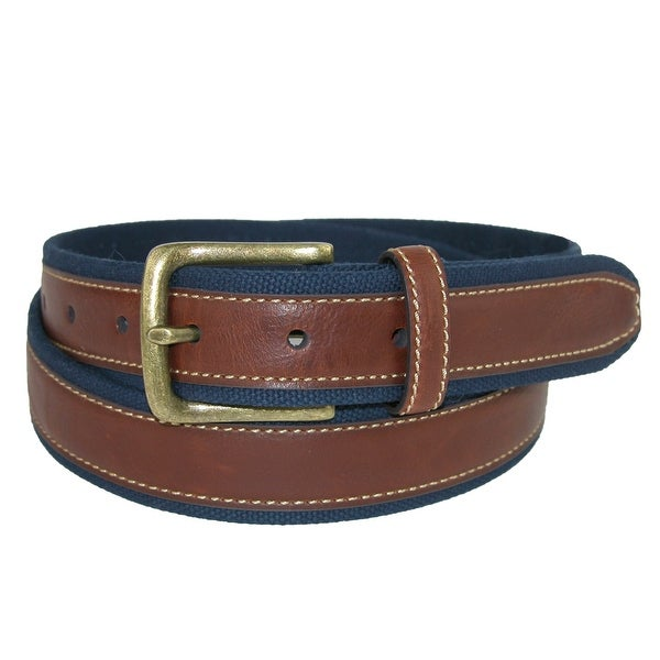 Aquarius Men's Big & Tall Leather on Canvas Belt