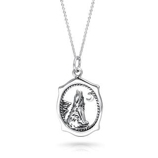Bling Jewelry .925 Silver Howling Wolf Crescent Moon Pendant Necklace 16 Inches