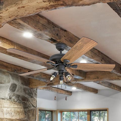 """Prominence Home Lincoln Woods Farmhouse 52"""" Aged Bronze LED Ceiling Fan, Cage Industrial 3-Light, 3 Speed Remote"""