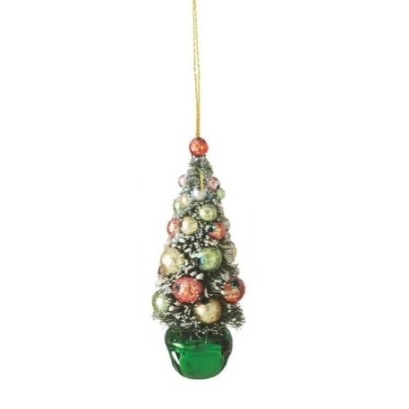 "4"" Flocked and Glittered Christmas Tree on Green Jingle Bell Holiday Ornament"