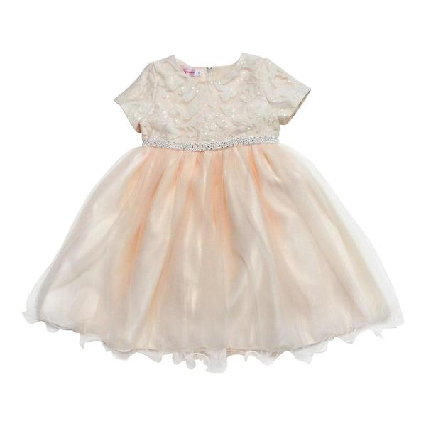 Baby Girls Champagne Sparkle Sequin Rhinestone Adorned Flower Girl Dress