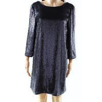 9c06e847 Shop MSK Blue Navy Sequin Sleeveless Women's Size 6 Shift Dress ...