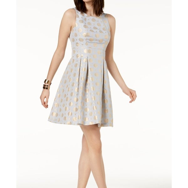 a9a281280c3 Shop Betsey Johnson Blue Gold Polkadot Pleated 14 Flare A-Line Dress ...