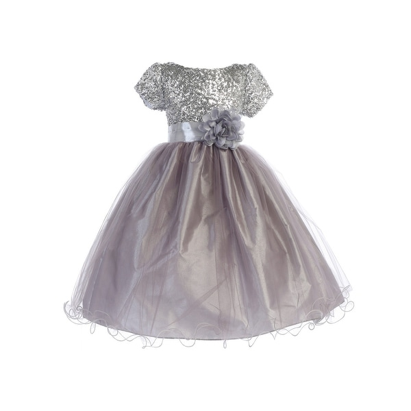 3360bebe5200 Shop Ellie Kids Big Girls Silver Sequin Tulle Wire Hem Junior Bridesmaid  Dress 8-12 - Free Shipping On Orders Over $45 - Overstock - 23090262