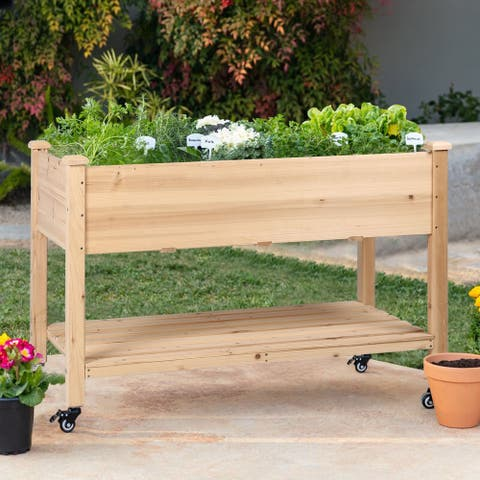 Veikous Raised Garden Bed Planter Box with Four Wheels and Legs