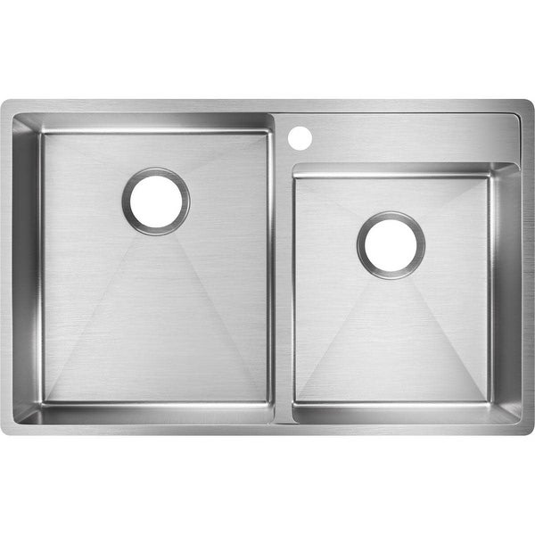 "Elkay ECTRUD31199R Crosstown 32-1/2"" Double Basin Stainless Steel Kitchen Sink for Undermount Installations with Water Deck"