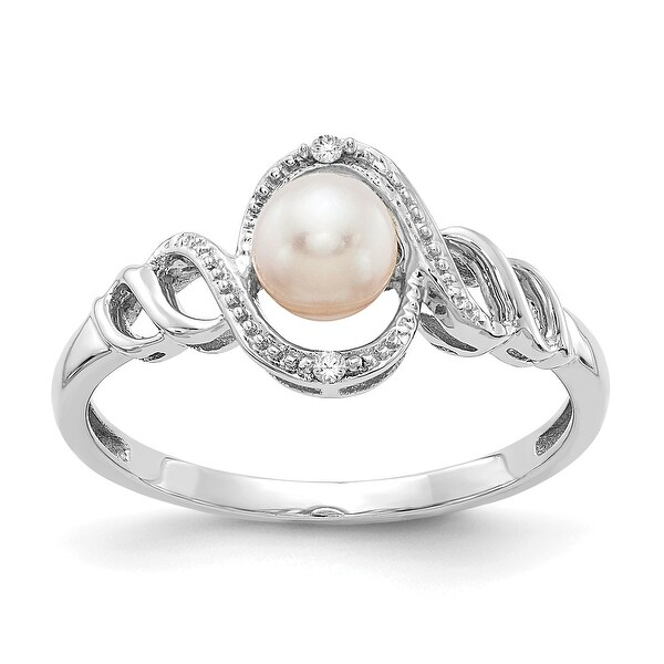 10K White Gold Freshwater Cultured Pearl and Diamond Ring by Versil. Opens flyout.