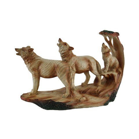 Howling Wolf Family Carved Wood Look Resin Statue - 6 X 9.5 X 3 inches