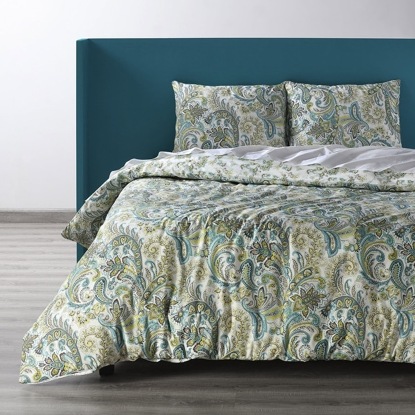 Exclusive Fabrics Spindrift Teal and Yellow Cotton Percale Printed Reversible Duvet Cover Set. Opens flyout.