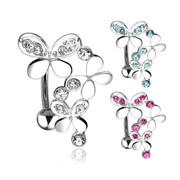 """316L Steel Top Down Navel Belly Button Ring with Triple Gemmed Butterflies- 14 GA 3/8"""" Long (Sold Ind.)"""