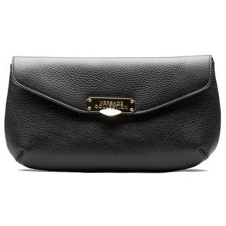 Versace Women Pebbled Leather Clutch Handbag Black - M