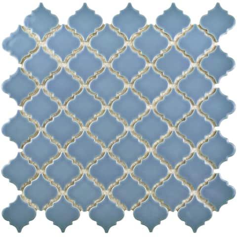 """SomerTile Hudson Tangier Light Blue 12.38"""" x 12.5"""" Porcelain Mosaic Tile"""