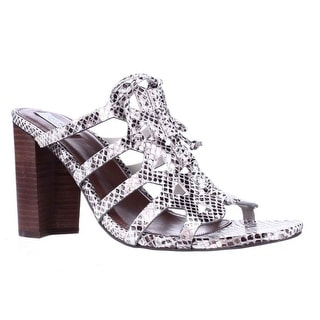 Cole Haan Claudia High Lace Up Mule Dress Sandals - Silver Python
