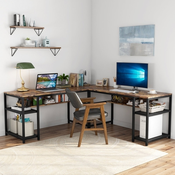 70-Inch L-Shaped Desk with Shelves. Opens flyout.