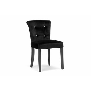 Larouche Black Velveteen Modern Dining Chair - 2 Chairs