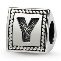 Sterling Silver Reflections Letter Y Triangle Block Bead (4mm Diameter Hole)