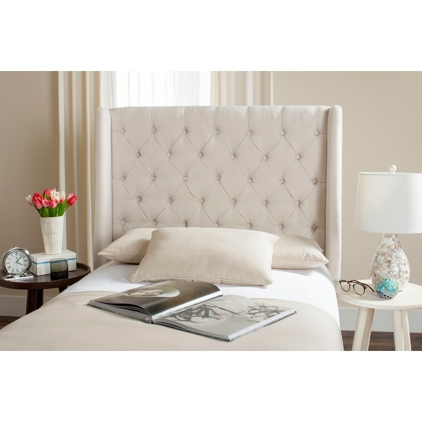 Safavieh London Creme Upholstered Tufted Wingback Headboard (Twin). Opens flyout.