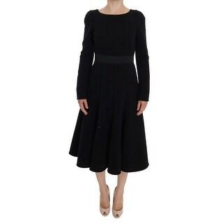 Dolce & Gabbana Dolce & Gabbana Black Wool Sheath Stretch Dress - it42-m