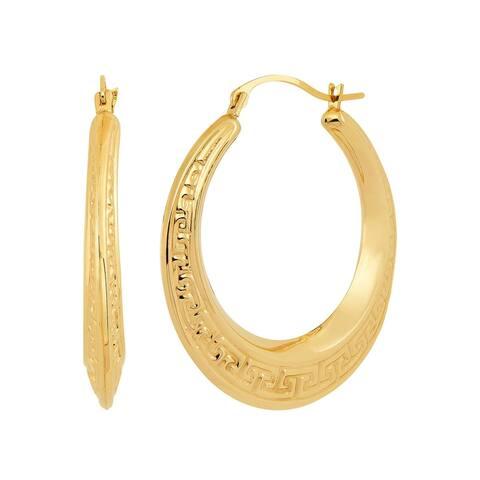 Finecraft '30 mm Patterned Hoop Earrings' in 10K Yellow Gold