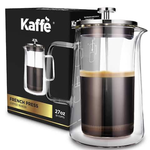 KF1010 French Press Coffee Maker by Kaffe. Double-Wall Borosilicate Glass (27 oz / 0.8 L) 6-cup