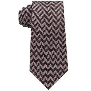 Sean John Brown White Men's One Size Houndstooth Silk Neck Tie