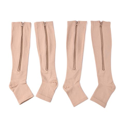 TLV Set of 2 Brown Spandex Nylon Compression Socks with Zipper L/XL