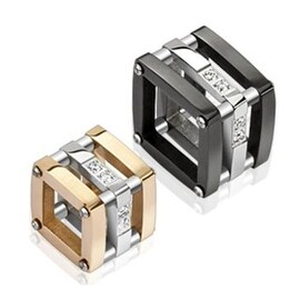 Pair of Stainless Steel Duo Tone Hollow Block with CZ Accent Couple Pendants (15.5 mm Width)