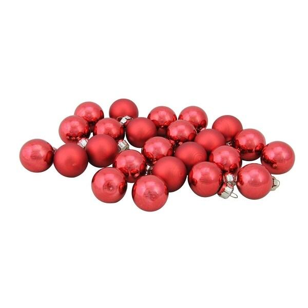"24-Piece Shiny and Matte Red Mini Glass Ball Christmas Ornament Set 1"" (25mm)"