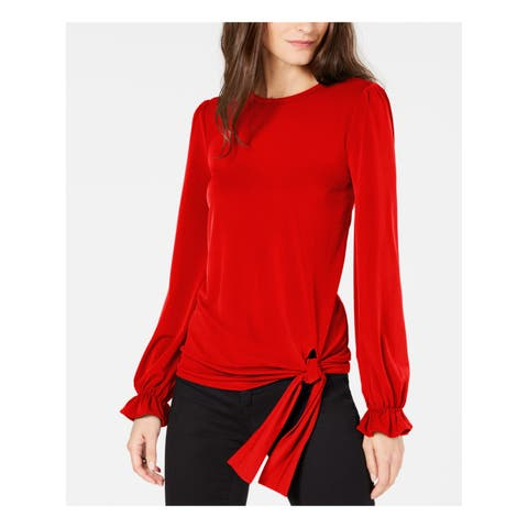 MICHAEL KORS Womens Red Tie Front Ruffle Sleeve Crew Neck Top Size: L