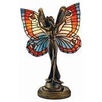 Design Toscano  Butterfly Fairy Tiffany-Style Stained Glass Illuminated Sculpture
