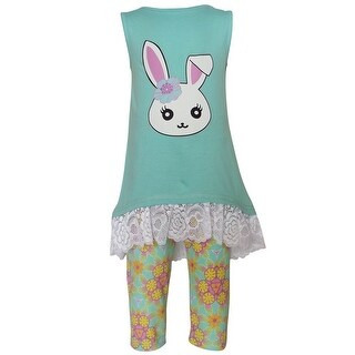 AnnLoren Baby Girls Blue Bunny Lace Trim Floral 2 Pc Pant Outfit
