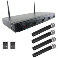 PYLE PDWM4520 Wireless Microphone System, UHF Quad Channel Fixed Frequency (4 handheld microphones)