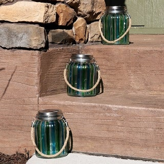 Sunnydaze Blue and Green Striped Solar Lantern Light with LED Lights, Set of 3