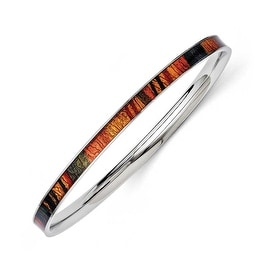 Chisel Stainless Steel Dark Green/Red/Orange Enameled Bangle