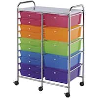 "Double Storage Cart W/15 Drawers-25.5""X38""X15.5"" Multicolor"