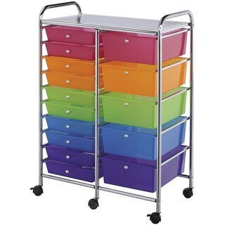 """Double Storage Cart W/15 Drawers-25.5""""X38""""X15.5"""" Multicolor"""