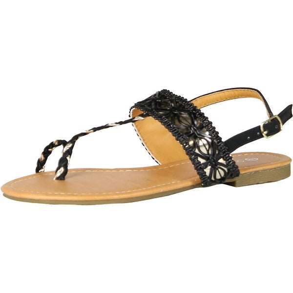 Luo Luo Womens T Strap Sandals Black Toe Ring Thong