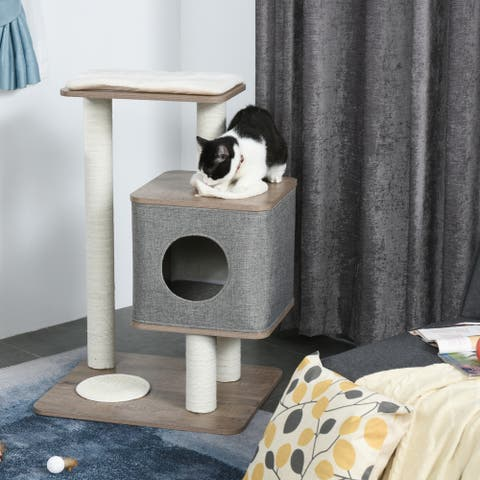 """PawHut 34"""" Cat Tree Tower Activity Center with Natural Jute Scratch Material, Cushions on Each Platform, & Condo Area"""