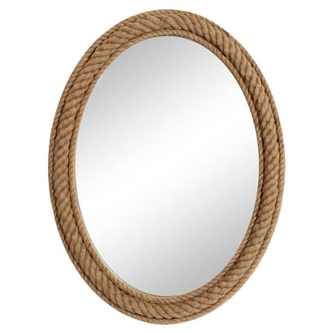 """Oval Natural Rope Trimmed Wood Wall Mirror, 30"""" X 40"""" - 30 x 3 x 40"""